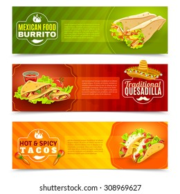 Mexican tradition futures and cuisine or food flat color horizontal banner set isolated vector illustration