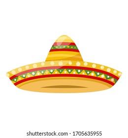 Mexican traditional clothes  headwear - straw sombrero. Vector
