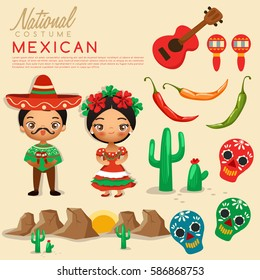 Mexican traditional costumes : Vector Illustration