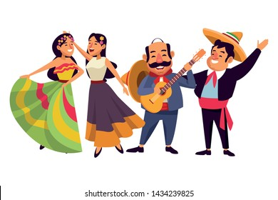 mexican traditional culture mariachis with dancer woman with flower in her hair, singer woman with flower in her hair and man with moustache, mexican hat and guitar avatar cartoon character vector
