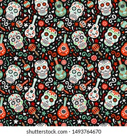 Mexican traditional Day of the Dead vector seamless pattern. National flag red, green colored ornate background of for fabric prints, wallpaper. Tribal design colorful ornament. EPS 10 illustration