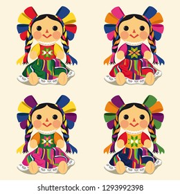 Mexican Traditional Doll, Maria – Vector Illustration Set