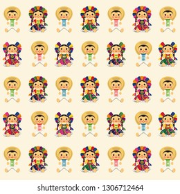 Mexican Traditional Dolls Pattern – Vector Illustration