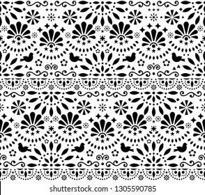 Mexican traditional folk art vector seamless geometric pattern with flowers and birds, black and white fiesta design inspired by traditional art form Mexico. Repetitive floral background