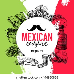 Mexican traditional food background. Hand drawn sketch vector illustration. Vintage Mexico cuisine menu design