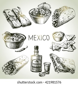 Mexican traditional food. Hand drawn sketch vector illustration. Vintage Mexico cuisine set