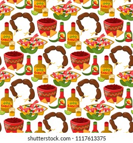 Mexican traditional food with meat avocado seamless pattern background spicy pepper salsa lunch sauce cuisine vector illustration