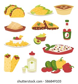 Mexican traditional food with meat avocado tequila corn isolated and spicy pepper salsa lunch sauce mexico cuisine dinner cartoon style vector illustration. Burrito, taco and tequila