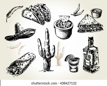 Mexican traditional food menu. Hand drawn sketch vector illustration. Vintage Mexico cuisine set