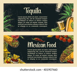 Mexican traditional food restaurant menu template with spicy dish. burrito, tacos, tomato, nachos, tequila, lime. Vector vintage engraved illustration on dark background.  For poster, web