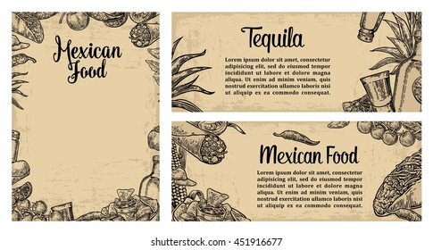 Mexican traditional food restaurant menu template with burrito, tacos, tomato, nachos, tequila, lime. Vector vintage engraved illustration on beige background. For poster, web