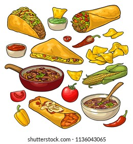 Mexican traditional food set with Guacamole, Quesadilla, Enchilada, Burrito, Tacos, Nachos, chili con carne with ingredient. Vector vintage color illustration isolated on white background.