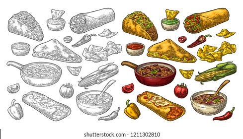 Mexican traditional food set with Guacamole, Quesadilla, Enchilada, Burrito, Tacos, Nachos, chili con carne with ingredient. Vector vintage color and black engraving illustration isolated on white