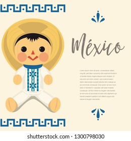 Mexican Traditional Male Doll – Vector Illustration – Copy Space