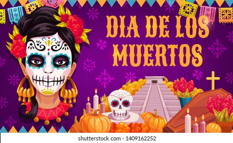 Mexican traditional religious holiday or Day of Dead. Vector woman in calavera skull painting, Aztec pyramid or altar and coffin with Dia de los Muertos marigold flowers, flags and candles