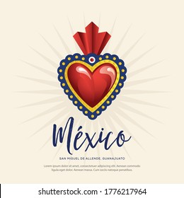 Mexican Traditional Sacred Brass Hearts from San Miguel de Allende; México – Copy Space Composition