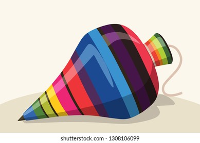 Mexican Traditional Spinning Top Wood Toy – Vector Illustration