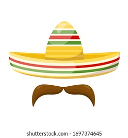 Mexican traditional straw sombrero and mustache. Vector