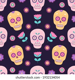 Mexican traditional sugar skull with flowers seamless pattern, Cinco de mayo symbol. Day of the Dead ornamental skeleton. Vector illustration in flat cartoon style, wrapping paper, purple background