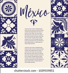 Mexican Traditional Talavera Style Tiles from Puebla; México – Copy Space Floral Composition with Birds
