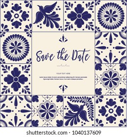 Mexican Traditional Talavera Style Tiles from Puebla; México – Save the Date Copy Space Floral Composition with Birds