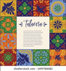 Mexican Traditional Talavera Style Tiles from Puebla; México – Copy Space Floral Composition with Birds