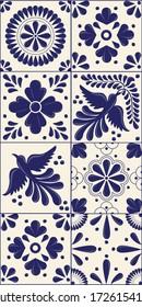 Mexican Traditional Talavera Style Tiles from Puebla; México