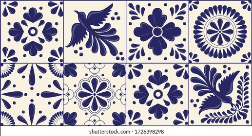 Mexican Traditional Talavera Style Tiles from Puebla; México