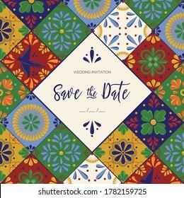 Mexican Traditional Talavera Style Tiles from Puebla; México – Wedding Invitation