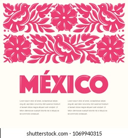 Mexican Traditional Textile Embroidery Style from Oaxaca; México – Copy Space Floral Composition with Birds in Pink