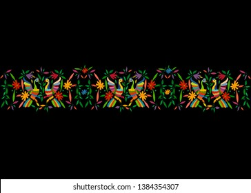 Mexican Traditional Textile Embroidery Style from Tenango City, Hidalgo, Mexico. Template Floral Composition with Birds, Peacock, colorful seamless frame composition isolated or black background