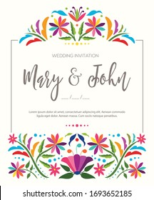 Mexican Traditional Textile Embroidery Style from Tenango, Hidalgo; México – Copy Space Floral Wedding Invitation