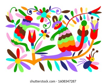 mexican tribal embroidary otomi style pattern with bird, animal and flower, vector illustration