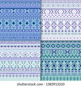 Mexican tribal ethnic motifs geometric patterns collection. Bohemian tribal motifs clothing fabric textile ethno prints traditional design. Native american folk fashion prints.