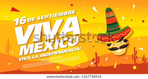 Mexican vector banner layout design. Mexican translation of the inscription: 16 th of September.  Viva Mexico! Happy Independence day!