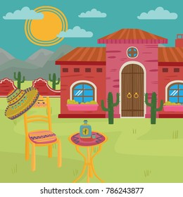 Mexican villa, traditional Mexican house and yard vector illustration