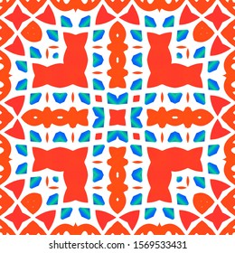 Mexican vintage talavera tiles. Geometric design. Vector seamless pattern flyer. Red antique background for pillows, print, wallpaper, web backdrop, towels, surface texture.
