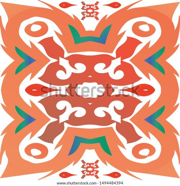 Mexican Vintage Talavera Tiles Kitchen Design Stock Vector