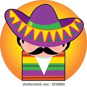 Mexican wearing a big Sombrero