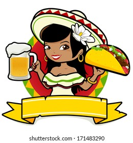 Mexican woman holding a cold beer and a taco. Vector illustration