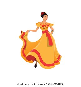 Mexican woman in long traditional dress isolated. Vector dancer lady in tabasco dress, decorated with roses and red belt, flowers in head. Cartoon character in national dress, dancing latino girl