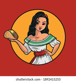 Mexican woman serving a taco in fast food