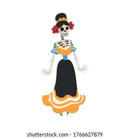 Mexican Woman Skeleton in a Dress, Day of the Dead Dia de los Muertos Concept Vector Illustration