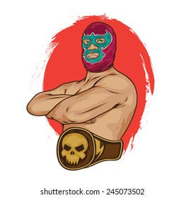 mexican wrestler pose vector illustration