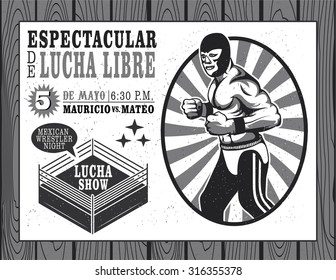 Mexican wrestler set. Lucha Libre. Vector illustration