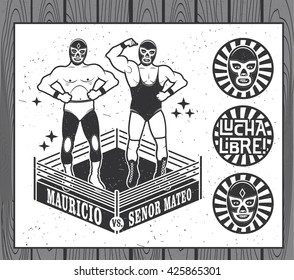 Mexican Wrestler Set. Lucha Libre. Vector Illustration.