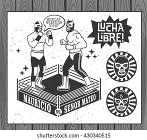 Mexican Wrestler Set. Lucha Libre. Vector Illustration.