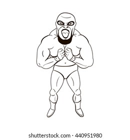 Mexican wrestler in the style of cartoons isolated on white background. Mexican wrestler icon. Mexico character