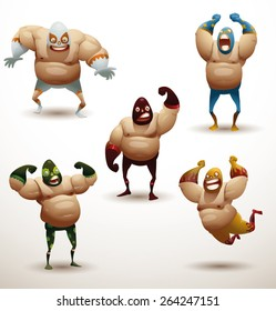 Mexican wrestlers Set, vector