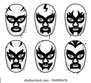 Mexican wrestling mask set. Vector illustration. Black and white grunge style.